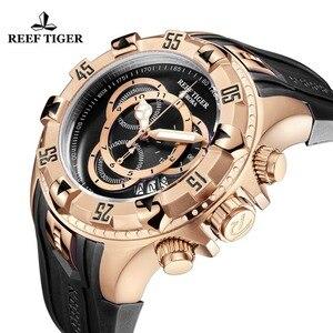 Image 5 - Reef Tiger/RT TOP ยี่ห้อ Luxury SPORT นาฬิกาผู้ชาย Rose Gold นาฬิกาสีฟ้าสายยางแฟชั่นนาฬิกา Reloj hombre RGA303 2