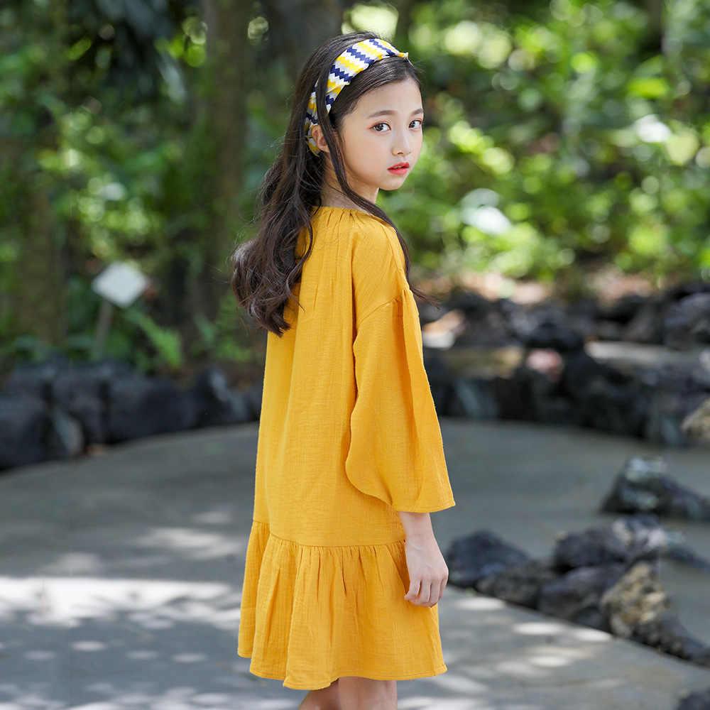 Коллекция 2019 года, Хлопковое платье для больших девочек весенне-Летние повседневные Детские платья с длинными рукавами модная одежда для девочек-подростков 9 Kinder Kleider
