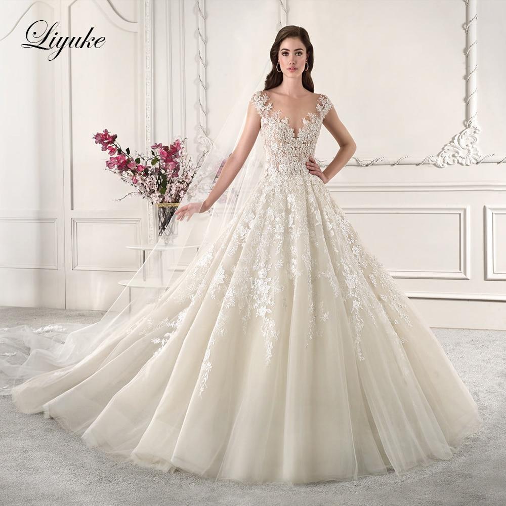Liyuke Sleeveless Nude Color A Line Wedding Dress With V Neckline And Buttons Closure Back Wedding