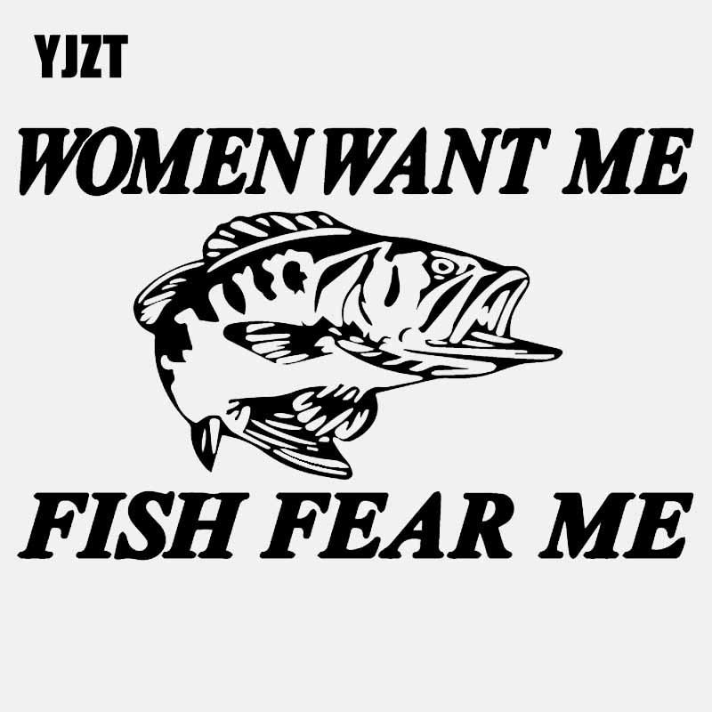 YJZT 15CM*9.6CM Women Want Me Fish Fear Me Bass Trout Catfish Car Sticker Fish Decal Vinyl Art Decor Black/Silver C24-0445
