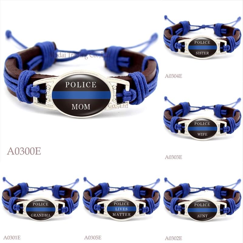 (Men's Fashion) Police Mom Wife Sister Grandma Aunt Dad Thin Blue Line Adjustable Leather Cuff Bracelet for Men Women Wristband