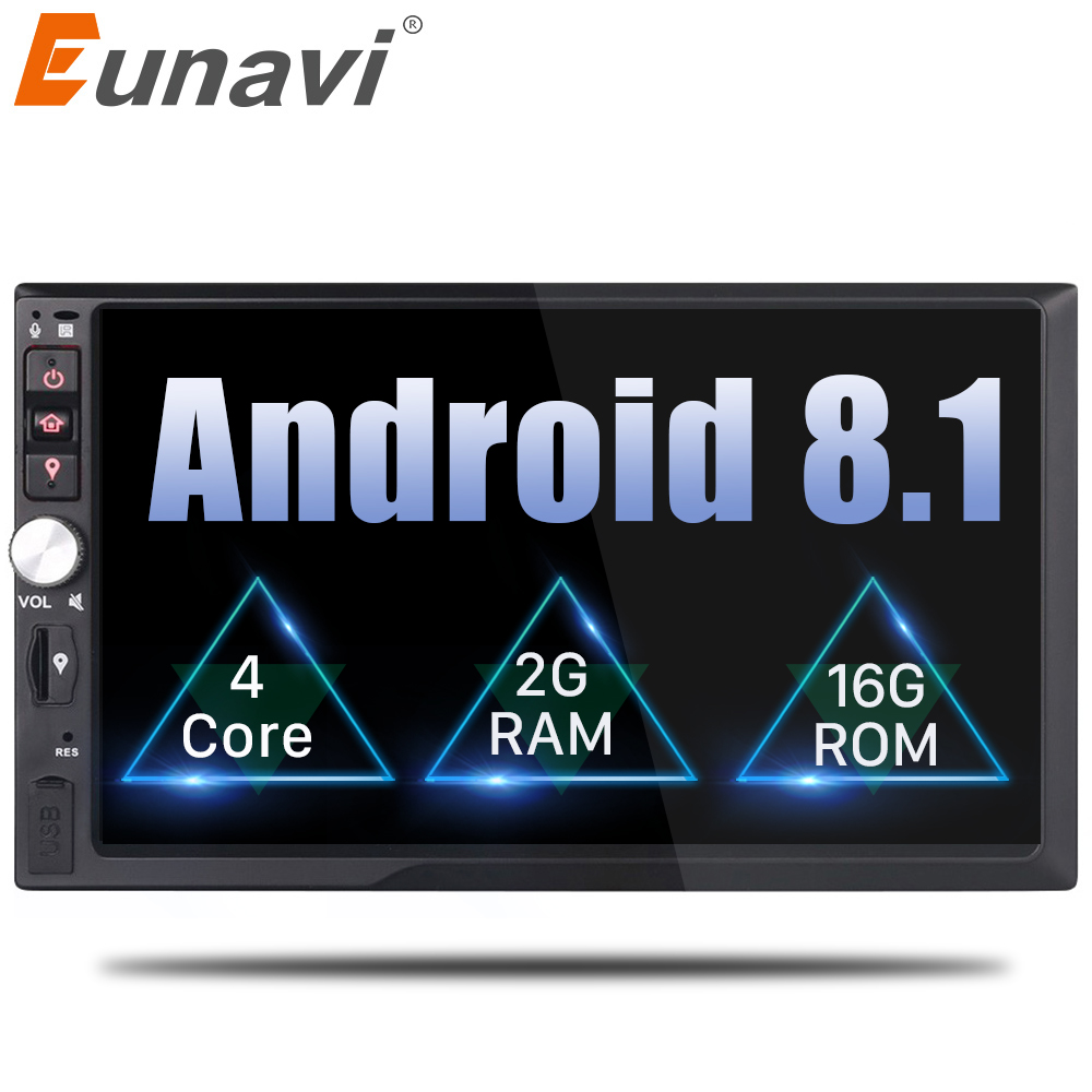 Eunavi 2 Din 7'' Quad core Android 8.1 2G RAM Car Radio Stereo GPS Navi WiFi 1024*600 HD Touch Screen 2din Car PC Bluetooth USB universal 1 din car radio gps android quad core car styling 7 touch screen 1024 600 head unit bluetooth am fm radio car stereo