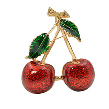 CINDY XIANG 2 colors choose red color cherry brooches for women fruit brooch pin summer style jewelry new arrival 2018 good gift cindy xiang new arrival cute summer skating girl brooches for women 2 colors choose wearing dress dancing lady brooch pin enamel