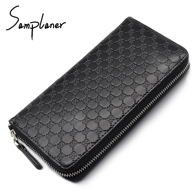 Samplaner Genuine Leather Long Men's Wallets Clutch Big Zipper Male Wallet Men Coin Purse Card Holder Cattle Two Layers of Skin