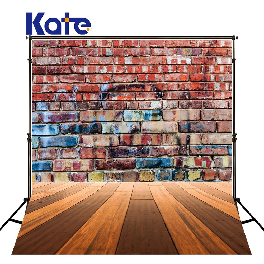 Kate Retro Graffiti Brick Wall Photography Backdrops Wood Floor Photo Booth Backdrop Washable Seamless Photographer Props