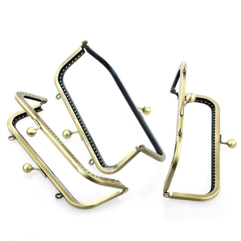 Bronze Tone DIY Purse Clutch Metal Rectangle Frame Kiss Clasps Lock Fermoir Handbag Handle 18x8cm in Jewelry Findings Components from Jewelry Accessories