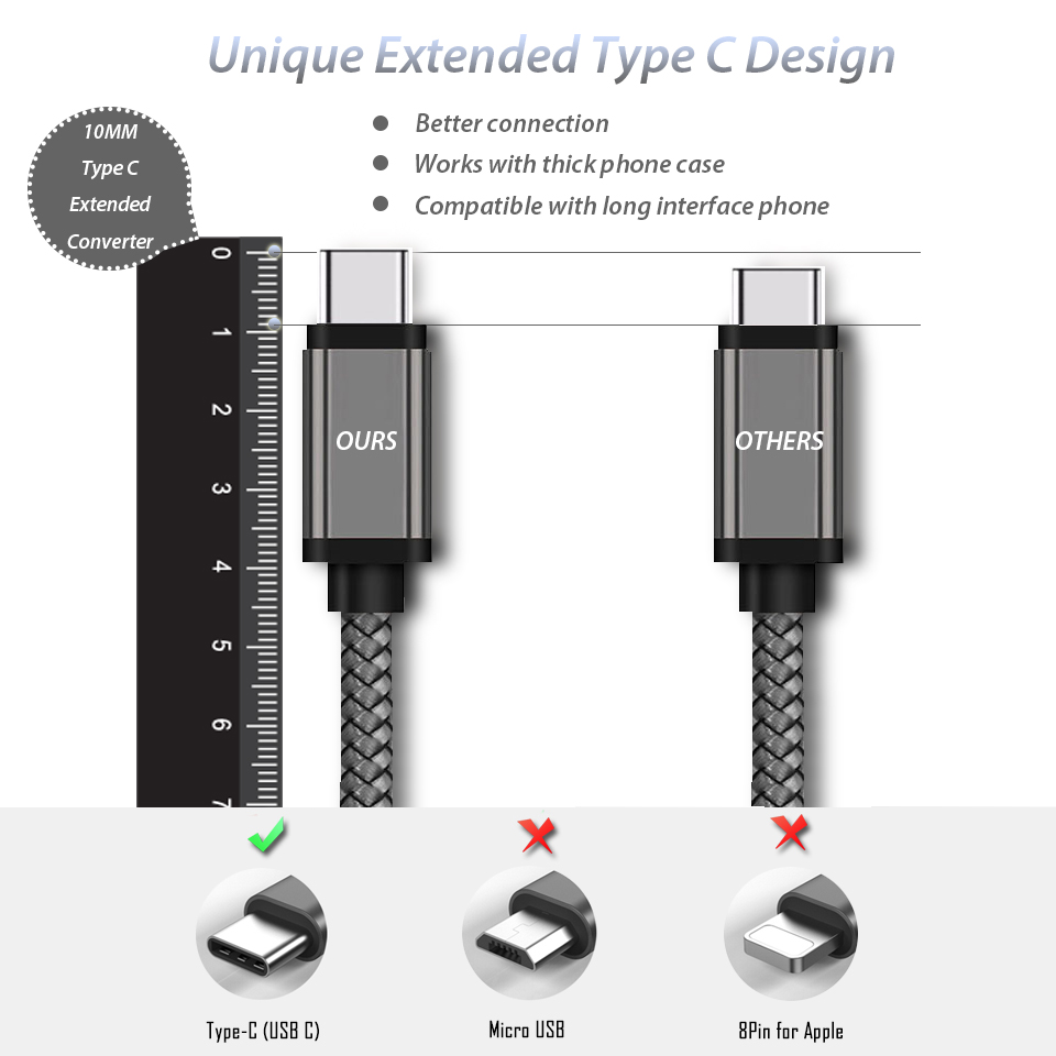 10mm Long Usb Type C Connector Charging Cable For Blackview Bv8000 4 Wire To 6 Plug Diagram Bv9000 Pro Oukitel Doogee Umidigi Charger Cabel Cord In Mobile Phone Chargers From
