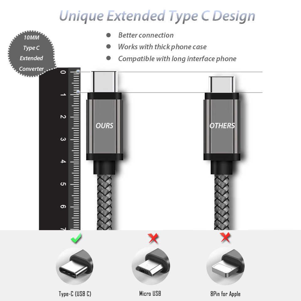 Cavo di ricarica tipo C connettore lungo 10mm 0.25m/1m/2m/3m per Blackview P10000 BV9600 BV9500 BV9000 BV7000 BV6800 Pro Oukitel K10