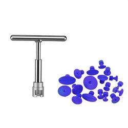 Pdr carro dent lifter ferramenta de reparo paintless dent remover t-bar slide martelo com guias extrator para granizo e porta ding remoção