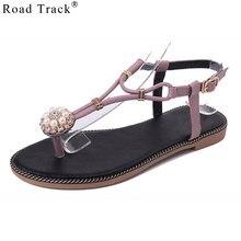 Road Track Summer Spring Clip Toe Sandals Women Retro Roman Non-slip Flat  Sandals With Pearl Shoes Sweet Flip Flops XWA1065-5 976fa4d4b572