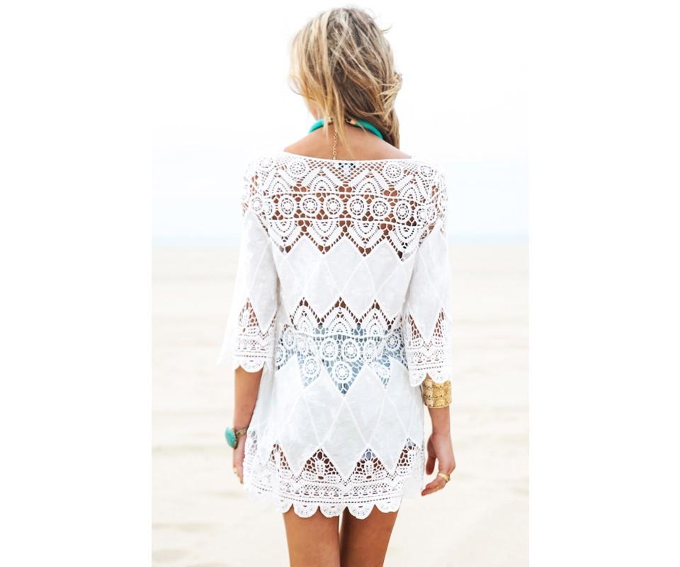 91b3c7346801b 2019 New Beach Tunic Sexy Swimwear Cover Ups White V Neck Cotton ...