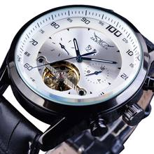 купить Jaragar Automatic Self-Wind White Watch Men Calendar Business Casual Mechanical Watches Tourbillon Leather Band Relogio New Sale по цене 2047.72 рублей