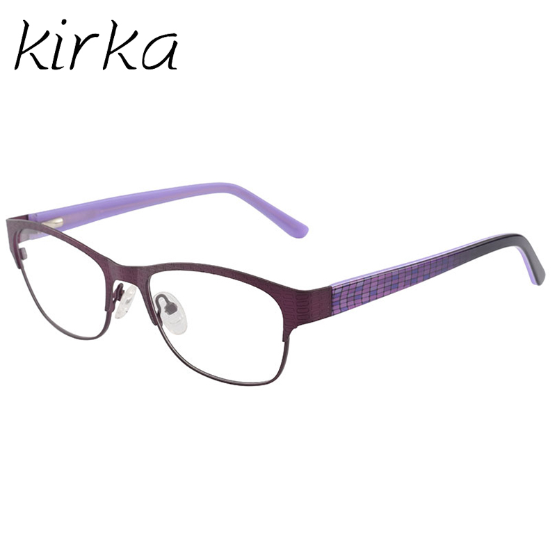 Kirka Women Eyeglass Frames Purple Metal Spectacle Frame Retro ...