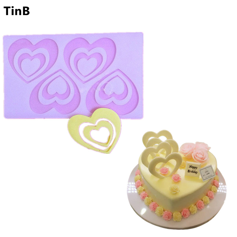 Hot DIY 3D Love Heart Silikon Chocolate Mold Bakeware Bursdagskake Cookie Decorating Tools Sjokolade Mugg Stencil Muffin Pan