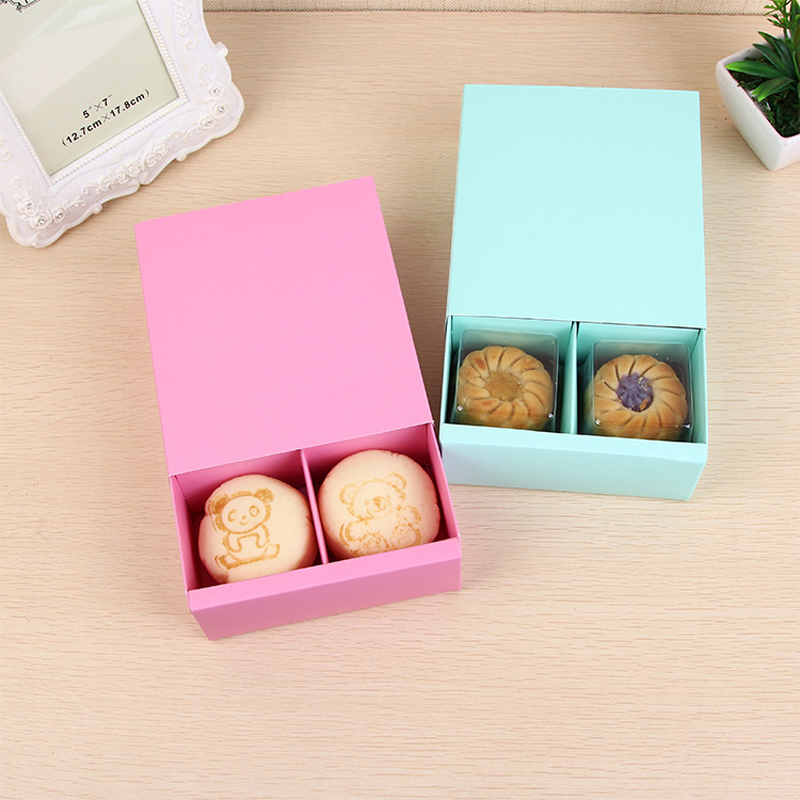 Candy Color 4 Grid Macaron Box Pastry Box for Biscuits Cookie Mooncake Packaging Paper Gift Boxes