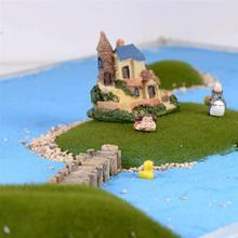 3pcs/Set Wooden Bridge Grey Yellow Miniatures Fairy Figurines Resin Bonsai Micro Landscape Crafts Fairy Garden Decoration