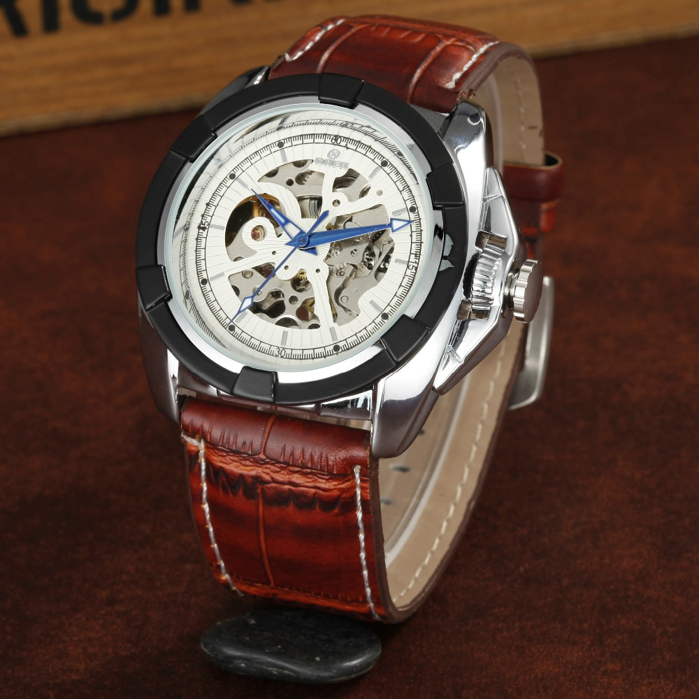 GEOR brand leather machinery male Wrist watch Men s Automatic Watch fashion Skeleton waterproof Luminous