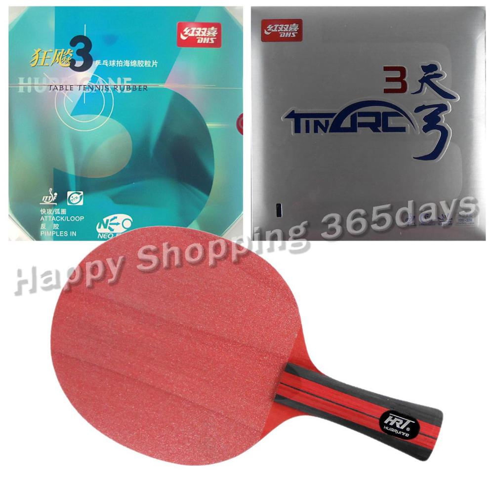 Pro Table Tennis PingPong Combo Racket Racket HRT Red Crystal with DHS NEO Hurricane 3 and TinArc 3  Long Shakehand FL pro combo table tennis racket hrt black crystal with yasaka era 40mm no ittf and ktl pro xp red dragon long shakehand fl