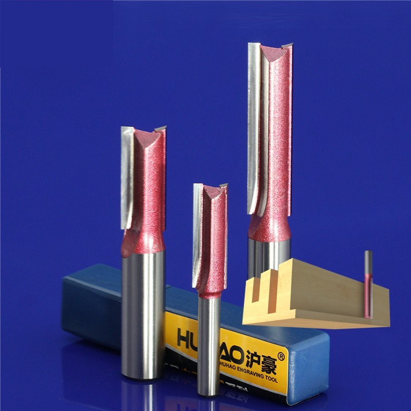 4pcs 1/4*1/2+1/4*5/16+1/4*3/8+1/4*1/2 Double Straight Flute Knife,MDF Woodworking Milling Engraving Machine Tool 1 4