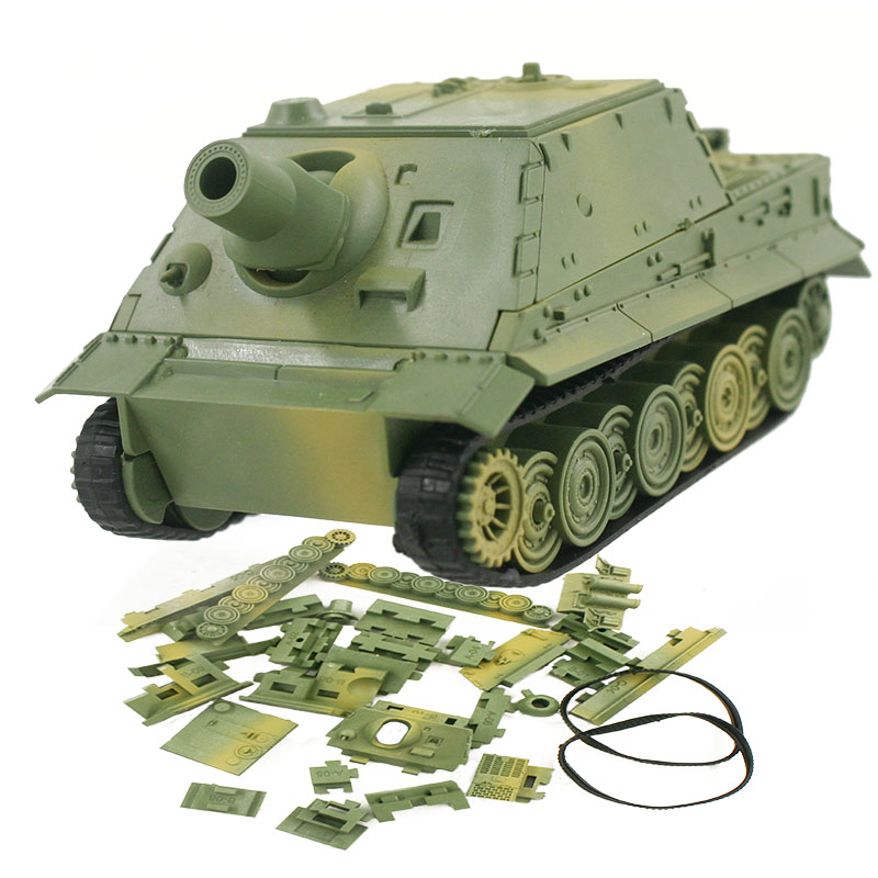 4D Model Building Kits Military Model Assembly Turmtiger Assault Tiger Tank Educational Toys Collection High-density Material
