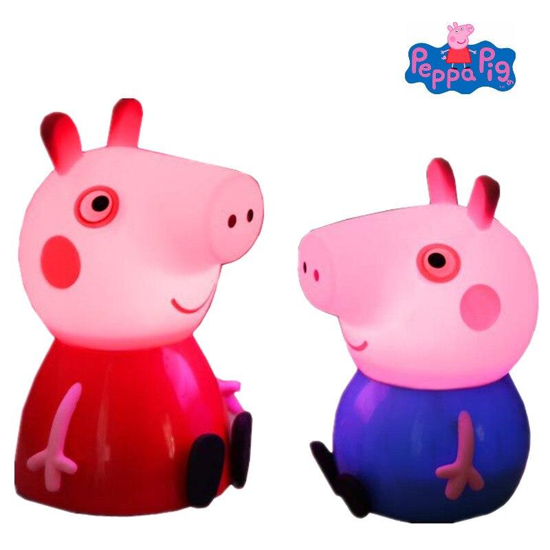 Свинка Пеппа игрушки с огоньками персонажи модели в движении украшения ночные светильники силиконовые игрушки Детская комната украшения п