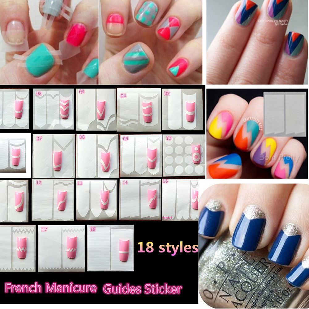 Nail Tip Guide French Tips New Diy Art Tape Stencil