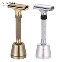 YINTAL New Design Luxurious Razor Butterfly Open Adjustable Safety Classic for Superb Mens Shaving Razor Barber Shaver