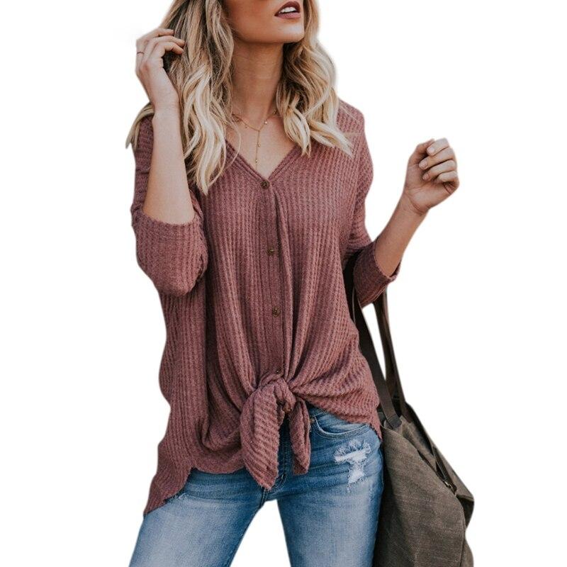 Mujeres Casual manga larga Camiseta cuello en V fina Top 2018 primavera nuevo Cardigan de punto abierto señoras chaqueta de mujer Outwear botón camiseta