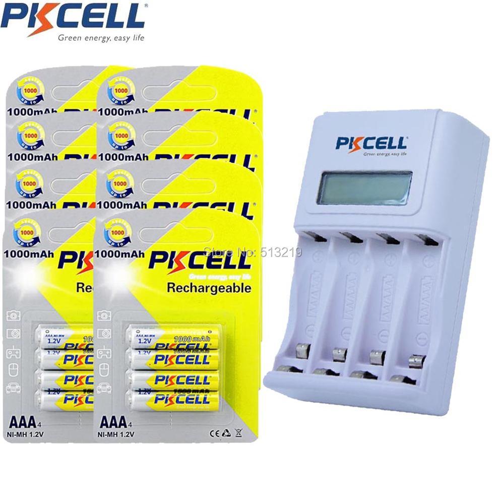 32Pcs/8Card PKCELL AAA Battery 3A Batteries and 4slot EU/US Plug Charger For 1 to 4Pcs AA/AAA NIMH/NICD Rechargeable Batteria 7 2v 250ma battery charger for 7 2 v aa nicd and nimh battery charger for rc toy car el plug ac 110 240v dc 7 2v 250mah eu plug