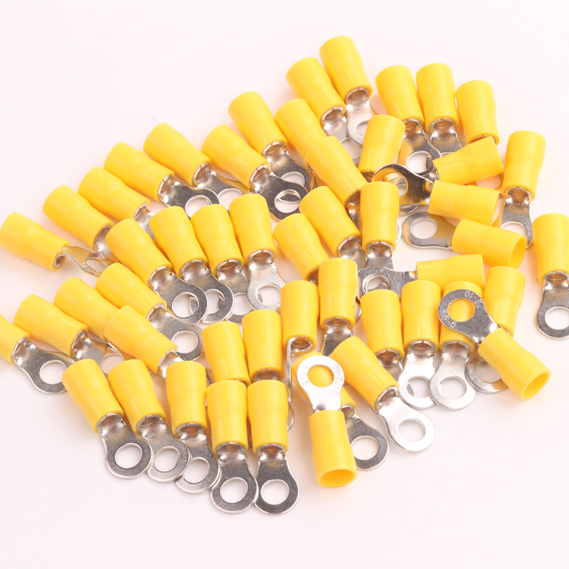 10x25PCS New AWG 12-10 Yellow Insulated Ring 5mm Connectors crimp terminals Vinyl Gauge Wire Car Audio 1000 pcs rnb5 5 6 awg 12 10 non insulated ring terminals connectors