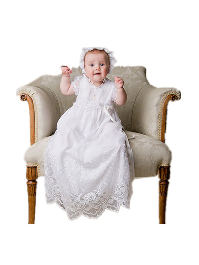 BABY WOW White Baby Girl Christening Gowns Baptism Long Dress Hat first communion dresses girls 90135