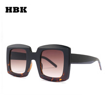 HBK Women Unisex Square Sunglasses 2019 New Men Fashion Style Sun Glasses Ladies Oversized Big Frame Eyewear Black Leopard UV400