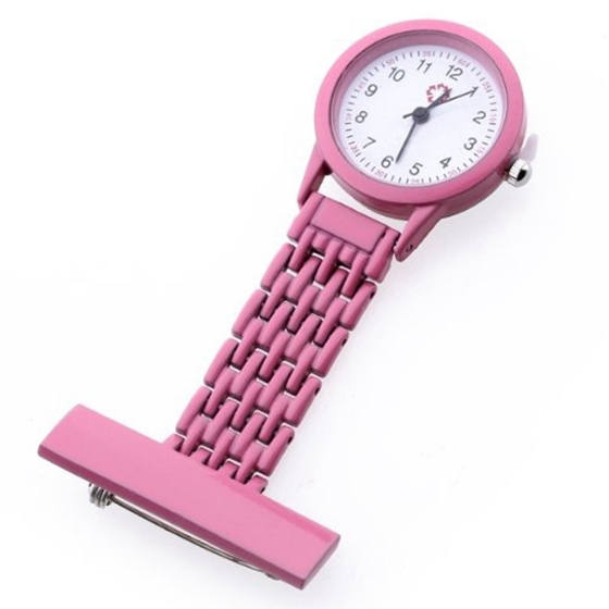 Nurse Watch Heart Rate Monitor Nurse Watch Quartz with Brooch Pink Sweet