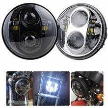 """Черный хром Аксессуары для мотоциклов 5.75 """"лампы фар ободок отделка кольцо для Harley Sportster XL 883 883N 1200 5 3/4 фары"""