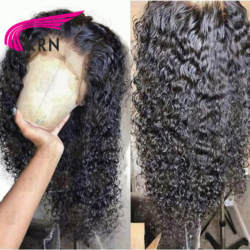 KRN Curly 13X6 Lace Front Wigs With Baby Hair Bleached Knots Remy Hair Pre Plucked Brazilian Human Hair Wigs Free Part