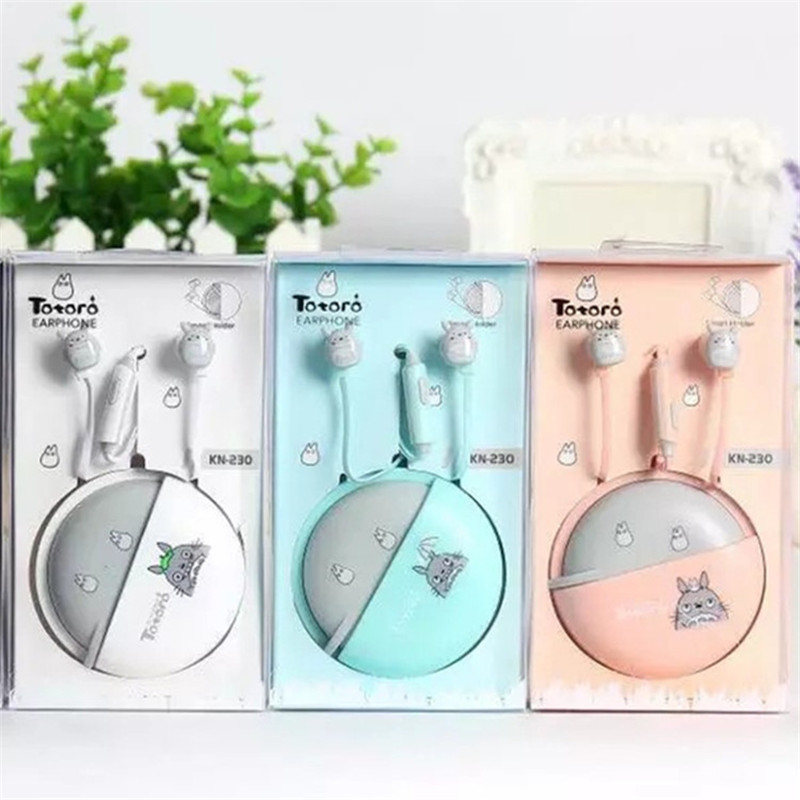 New Cute Totoro Earphones 3 5mm in ear Stereo with mic Earphone Case Universal for iPhone