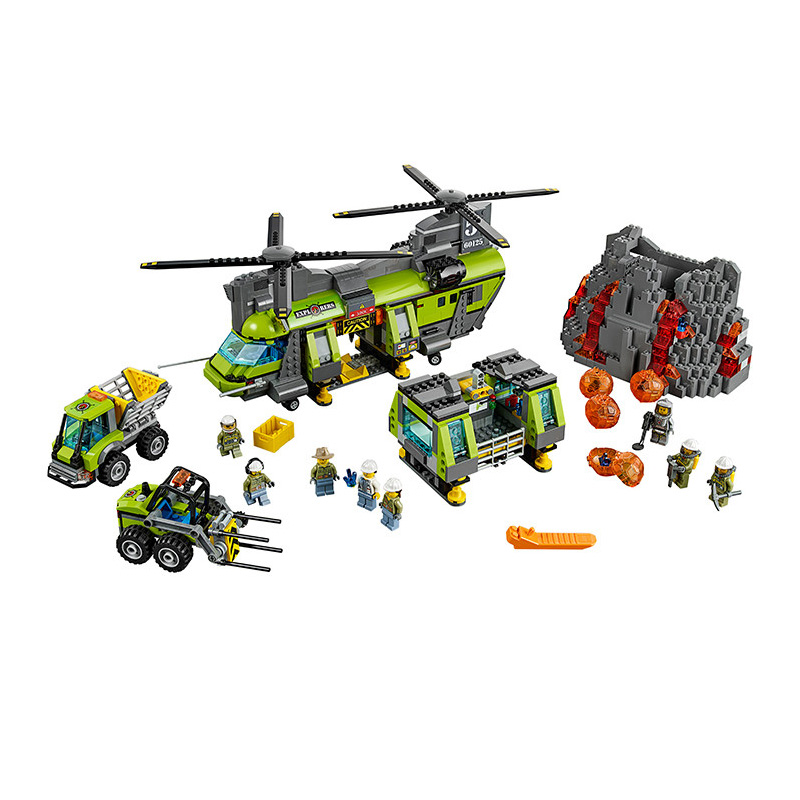 Lepin Bela 10642 City Volcano Supply Helicopter Geological Prospect Building Blocks Bricks Action Figures Compatible Legoe Toys