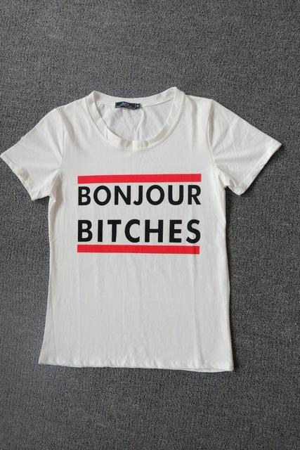 """Womens """"BONJOUR BITCHES"""" Short Sleeve Rock T-shirt"""