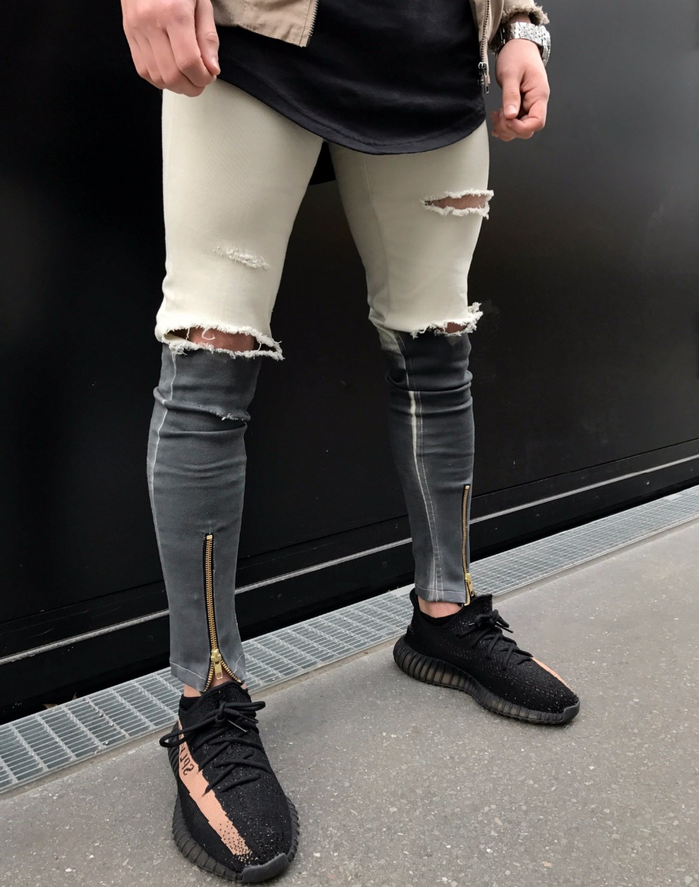 2018 Newest Fashion Tie-Dye Hole Destroyed Mens Hip Hop Denim Straight Biker Skinny Jeans Men Zipper Ripped Jeans Dropshipping
