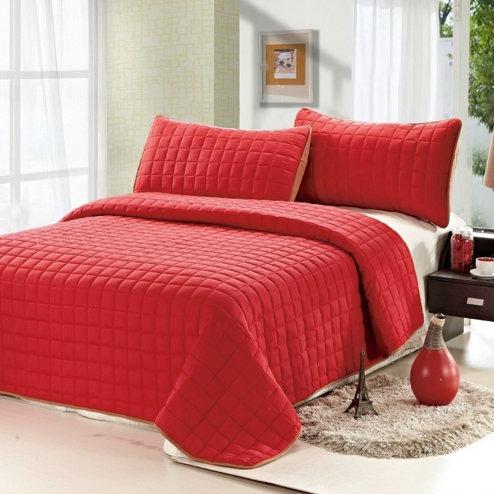 Superior 3PC Reversible Quilt Set Comfortable Coverlet Solid Color Beige/Brown/Red/Green/Deep  Red Queen/King Size In Bedding Sets From Home U0026 Garden On ...