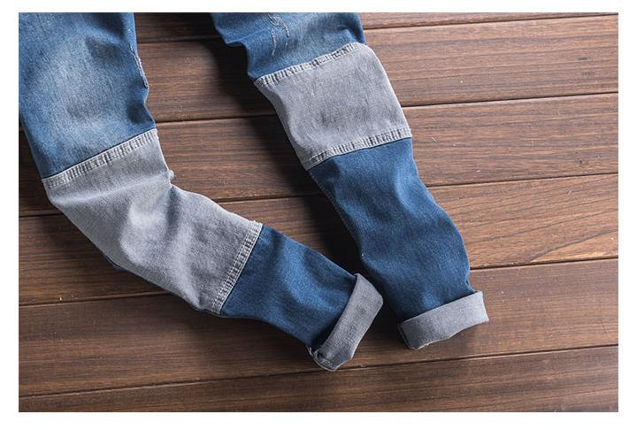 Fashion Style Men\`s Jeans Jumpsuit With Multi-pockets Blue Slim Fit Casual Streetwear Jumpsuit For Male Suspender Size S-3XL (6)