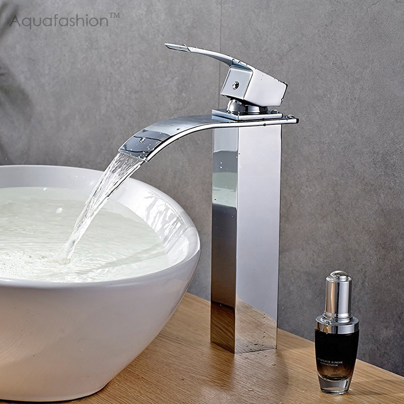 Hot High Waterfall Bathroom Faucets Polished Chrome Vessel Sink Faucet Single Handle