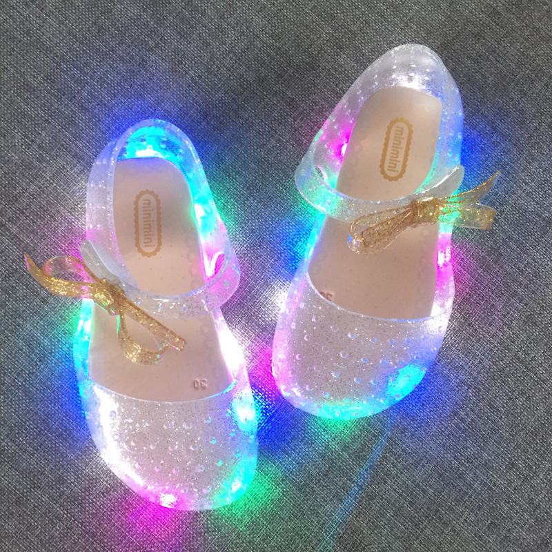 2019 New LED Light Flashing Bow Buttress Cool Slippers Fish Head Mouth Head Jelly Girl Fragrant Princess Sandals