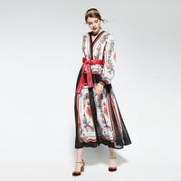 Hot selling Retro Prints Chiffon Dress Women Casual Fashion Prints Twinset Dress with Sashes