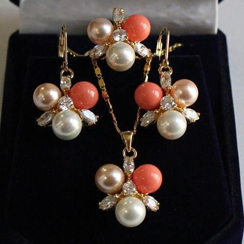 good Bridal Wedding 8mm white/pinkshell pearl earring pendant ring#7/8/9 5.31