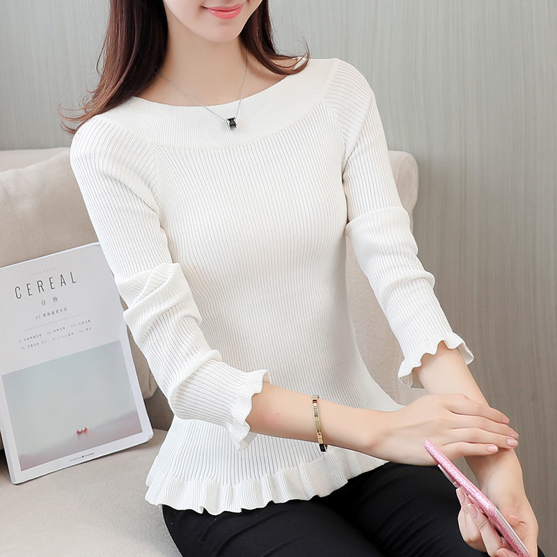 new long sleeve o neck knit unlined upper garment white black sweater women casual basic knitting clothes autumn winter top