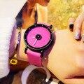 2017 mujeres de lujo famosa marca patrón simple Diseñador del reloj de LA PU banda de cuero reloj de cuarzo relojes de pulsera mujer reloj de Vestir de causalidad