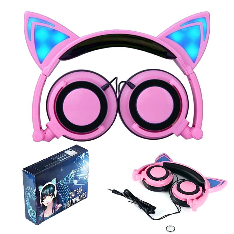 20 PCS Wholesale Cat Ear LED Headphones with LED Flashing Glowing Light Headset Gaming Earphone for PC Computer and Mobile Phone