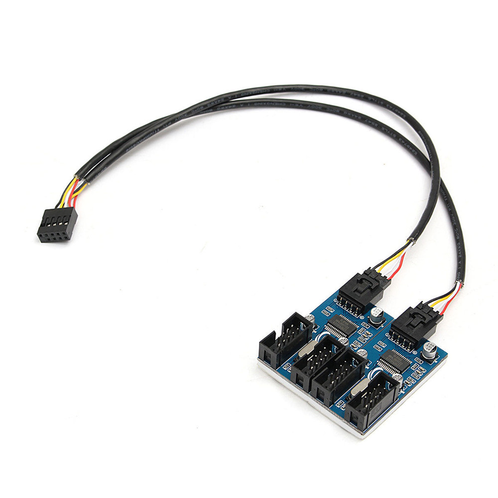 Motherboard 9 Pin USB Header Male 1 to 2 or 4 Female Extension Splitter Cable USB 2.0 Hub 9 pin Connector Adapter wsfs hot 2 port usb 3 0 female to 20 pin header cable adapter connector for motherboard