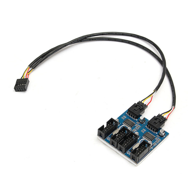 Motherboard 9 Pin USB Header Male 1 to 2 or 4 Female Extension Splitter Cable USB 2.0 Hub 9 pin Connector Adapter